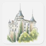 Chateau de Mercues, France Square Stickers