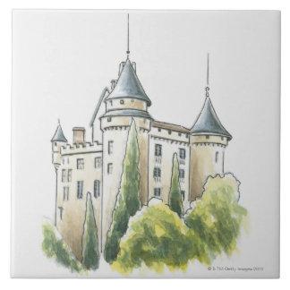 Chateau de Mercues, Francia Azulejo Cuadrado Grande