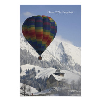 Chateau D'Oex, Switzerland - Hot Air Balloon Poster