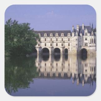 Chateau du Chenonceau el valle del Loira Calcomanías Cuadradass