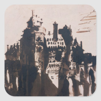 Chateau fortified by two Bridges Square Sticker