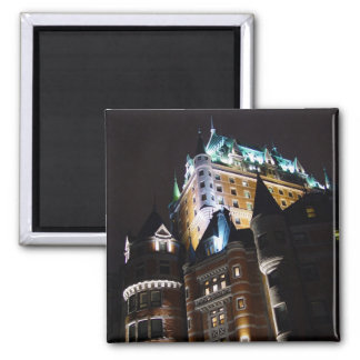Chateau Frontenac Castle Lit Up At Night Magnet