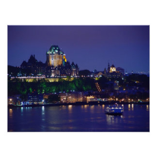 Chateau Frontenac Castle Night Quebec City Poster