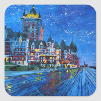 Château Frontenac Quebec Canada by night Square Sticker