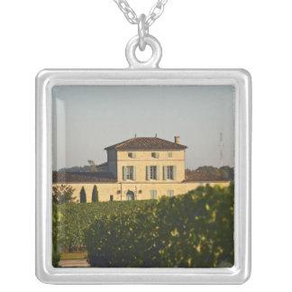 Chateau Lafleur Petrus and vineyard, in Pomerol, Square Pendant Necklace