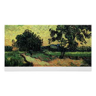 Chateau of Auvers Landscape at Sunset by van Gogh Poster