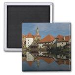 Chateau tower, Vltava River, Cesky Krumlov, 2 Inch Square Magnet