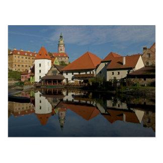 Chateau tower, Vltava River, Cesky Krumlov, Postcard
