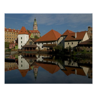 Chateau tower, Vltava River, Cesky Krumlov, Poster