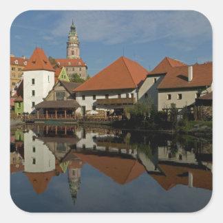 Chateau tower, Vltava River, Cesky Krumlov, Square Sticker