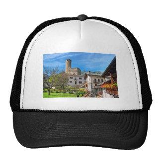 Chatelard village with castle mesh hat