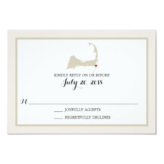 Chatham Cape Cod with heart   Wedding RSVP Card