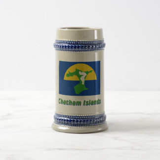 Chatham Island Flag with Name Beer Stein