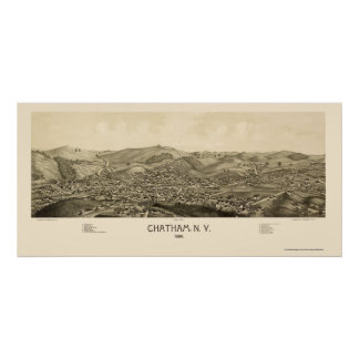 Chatham, mapa panorámico de NY - 1886 Póster