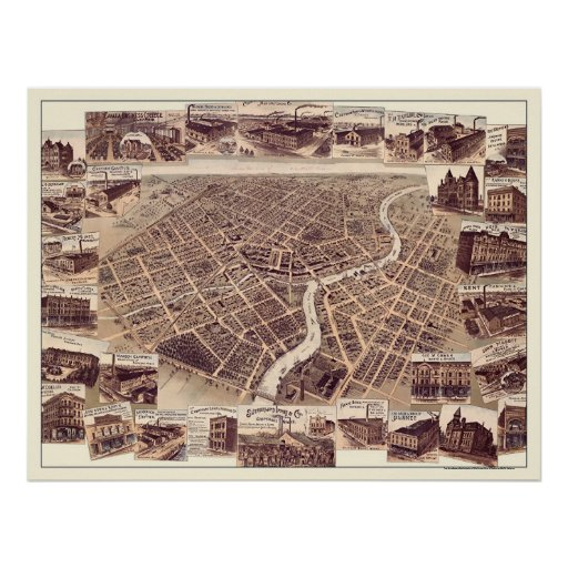 Chatham, ON, Canada Panoramic Map - 1870 Poster