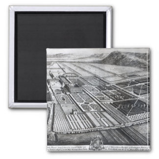 Chatsworth House, engraved by Johannes Kip 2 Inch Square Magnet