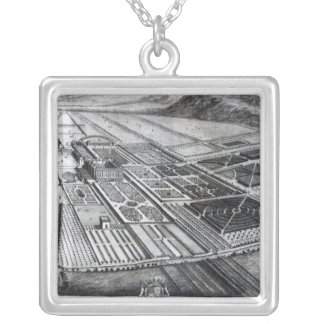 Chatsworth House, engraved by Johannes Kip Square Pendant Necklace
