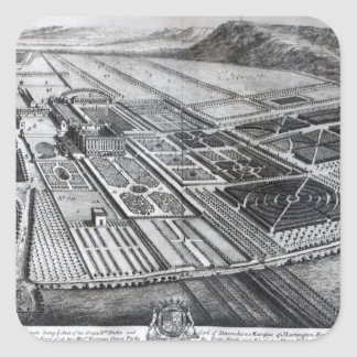 Chatsworth House, engraved by Johannes Kip Square Sticker
