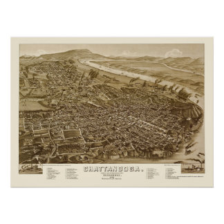 Chattanooga, mapa panorámico del TN - 1886 Posters