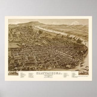 Chattanooga, mapa panorámico del TN - 1886 Póster