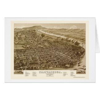 Chattanooga, mapa panorámico del TN - 1886 Tarjeta De Felicitación