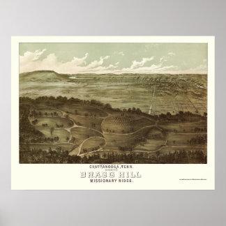 Chattanooga, mapa panorámico del TN - 1887 Póster