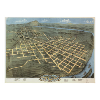 Chattanooga Tennessee 1871 Antique Panoramic Map Poster