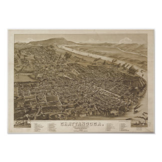 Chattanooga Tennessee 1886 Antique Panoramic Map Print