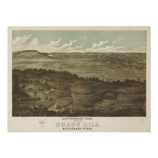 Chattanooga Tennessee 1887 Antique Panoramic Map Poster