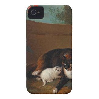 Chatte y chaton, y Chien y perroque iPhone 4 Case-Mate Coberturas