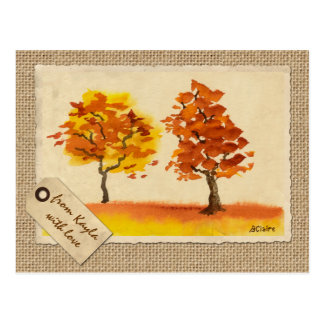 Chatting Autumn Trees Best Friends Fall Foliage Postcard