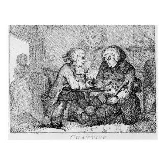 Chatting, illustration postcard