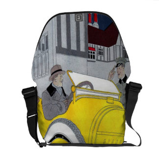 Chauffers Night Off Vintage Classic Car Art Deco Messenger Bag