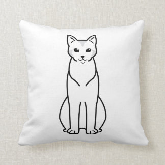 Chausie Cat Cartoon Throw Pillow