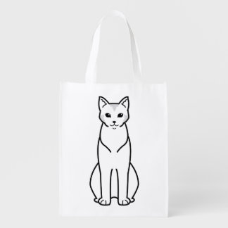 Chausie Cat Cartoon Reusable Grocery Bags