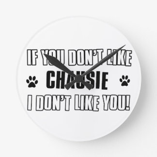 chausie cat design round clocks