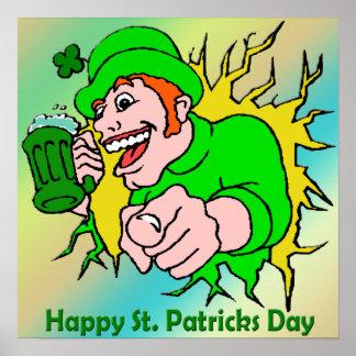Chaval irlandés con el poster verde de la cerveza póster