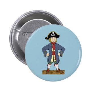 Chaval lindo del pirata pin redondo de 2 pulgadas