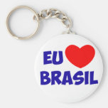 Chaveiro eu amo Brasil Llavero Redondo Tipo Pin