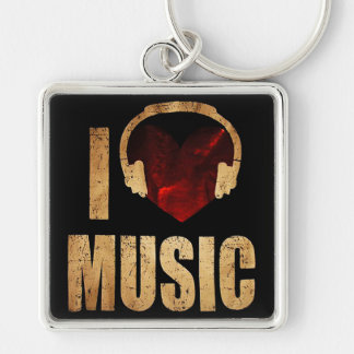 """Chaveiro """"I Love Music """" Silver-Colored Square Keychain"""