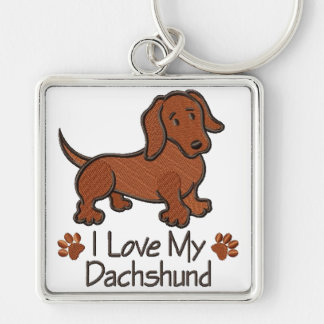 """Chaveiro """"I love my Dachshund """" Silver-Colored Square Keychain"""