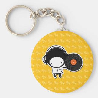 Chaveiro Music of Pocket - Yellow Basic Round Button Keychain