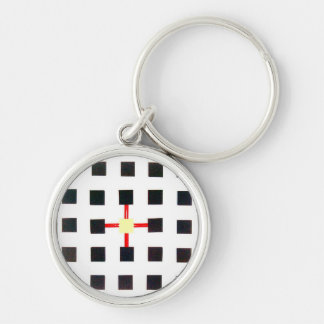 Chaveiro with design geometric and centered cross Silver-Colored round keychain