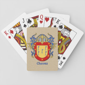 Chaves Heraldic Shield with Mantling Playing Cards