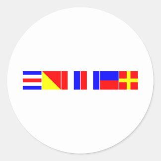 chaveta náutica de las banderas pegatina redonda