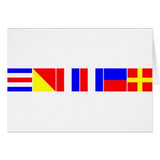 chaveta náutica de las banderas tarjeta de felicitación