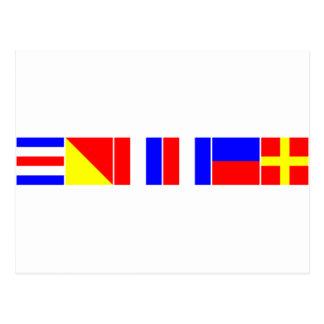 chaveta náutica de las banderas tarjetas postales