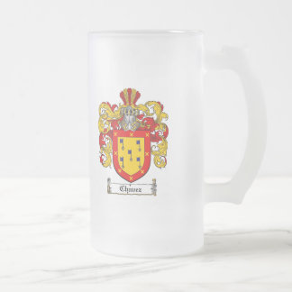 CHAVEZ FAMILY CREST -  CHAVEZ COAT OF ARMS FROSTED GLASS BEER MUG