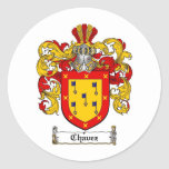 CHAVEZ FAMILY CREST -  CHAVEZ COAT OF ARMS CLASSIC ROUND STICKER