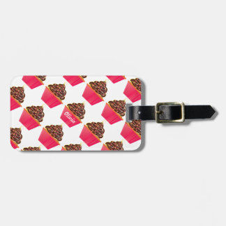 Chcolate Lover Pink Personalized Cupcake Sprinkles Luggage Tag